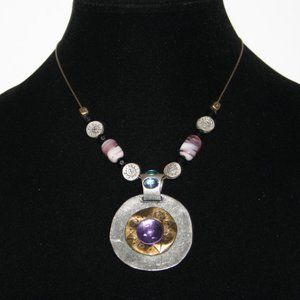 Stunning silver gold purple bronze necklace